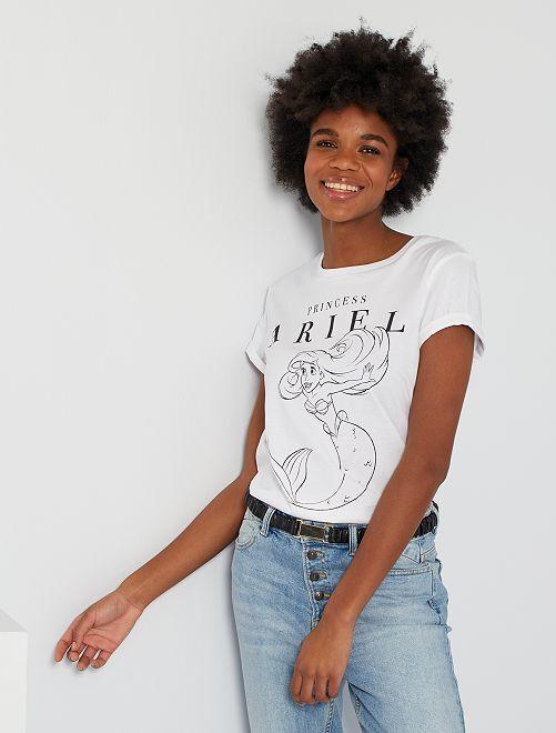 T-shirt 'Ariel la petite sirène' de 'Disney'                             blanc
