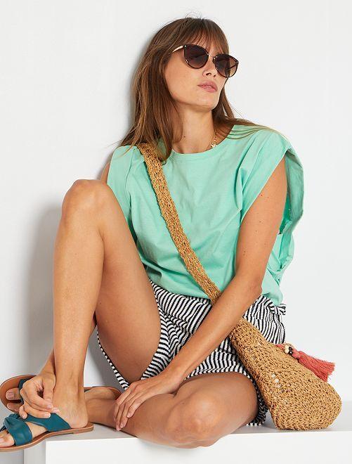 T-shirt aux larges emmanchures                                                     vert pastel