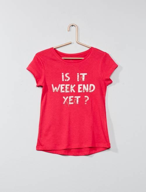 T-shirt avec animation                                                                 fuschia