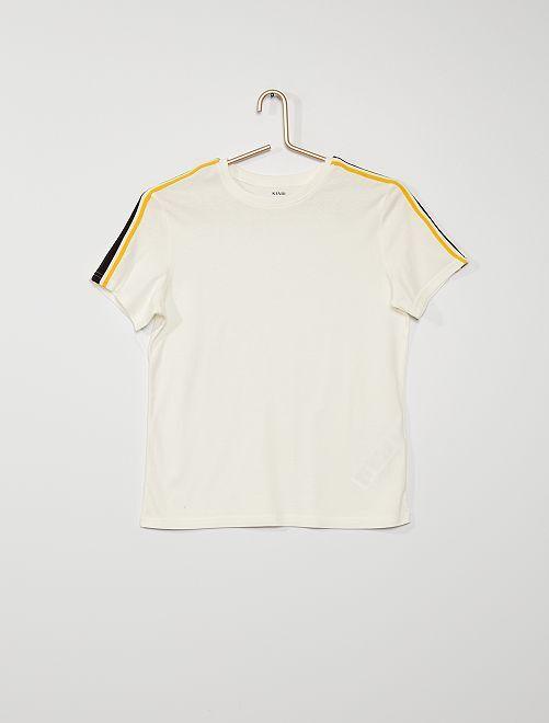 T-shirt avec bande tricolore                             écru
