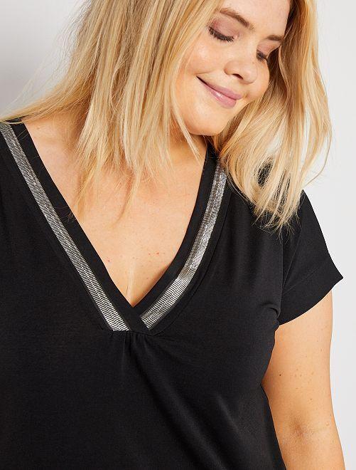 T-shirt avec biais brillant                             noir