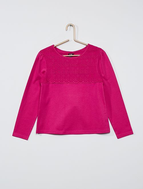 T-shirt avec broderie anglaise                                                                                                                 fuchsia