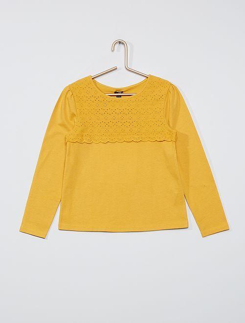 T-shirt avec broderie anglaise                                                                                         jaune