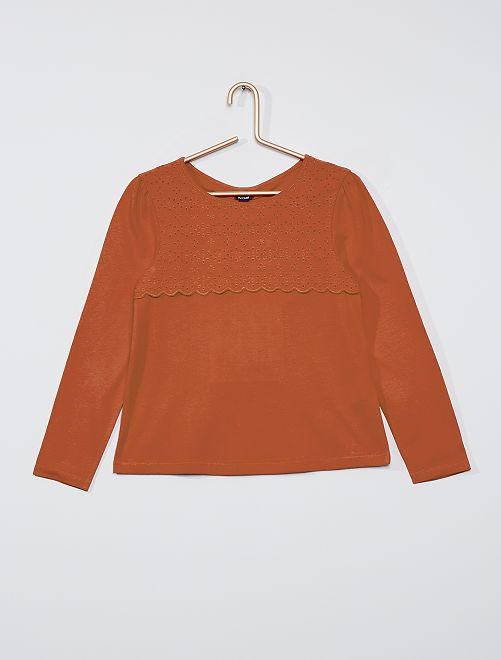 T-shirt avec broderie anglaise                                                                                         orange
