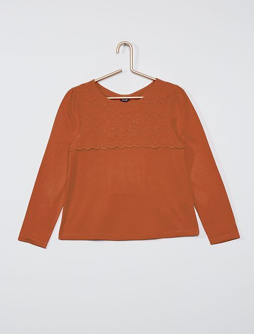 T-shirt avec broderie anglaise                                                                                         rouge