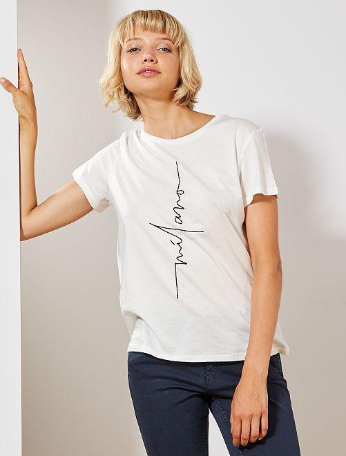 T-shirt avec broderie placée                                         blanc Femme