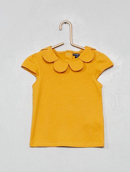 T-shirt avec col fleur                                                                 jaune