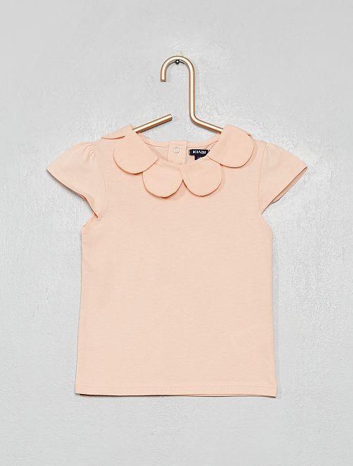 T-shirt avec col fleur                                                     rose