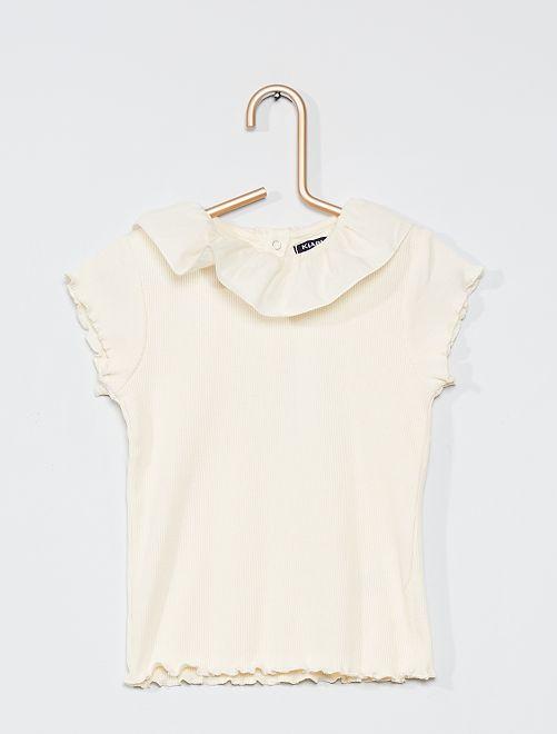 T-shirt avec collerette en voile de coton                                                     crème