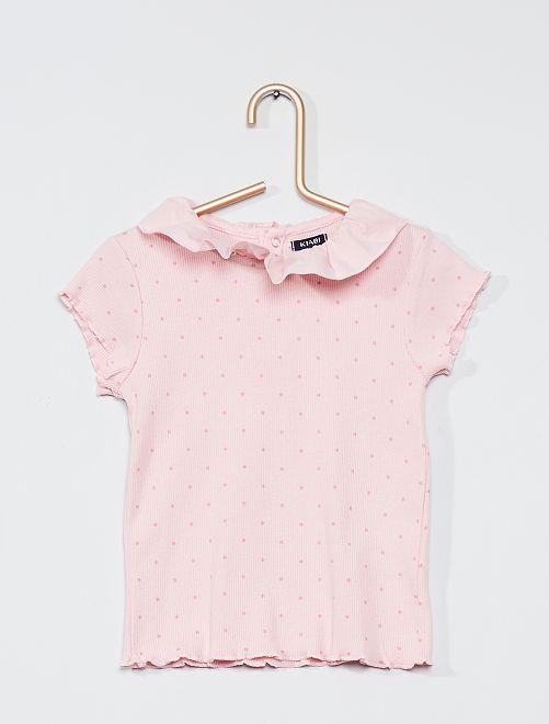 T-shirt avec collerette en voile de coton                                                     rose/pois