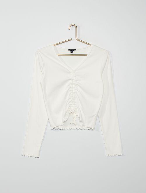 T-shirt avec coulisse                                                     blanc