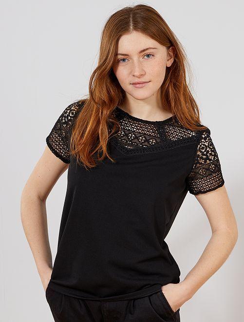 T-shirt avec découpe dentelle                             noir Femme