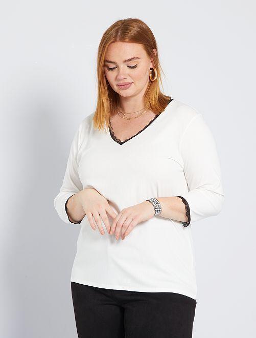 T-shirt avec dentelle                                                     blanc