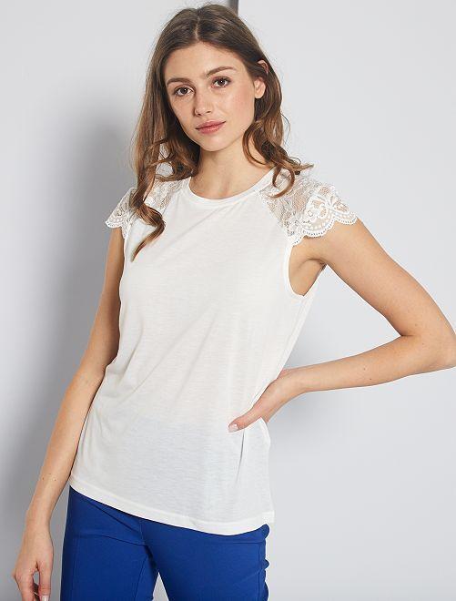 T-shirt avec dentelle 'Jacqueline De Yong'                                                     blanc
