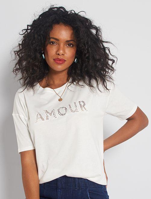T-shirt avec détail dentelle                                         blanc
