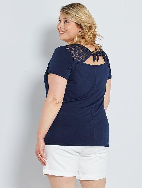 T-shirt avec détail dentelle                             bleu marine