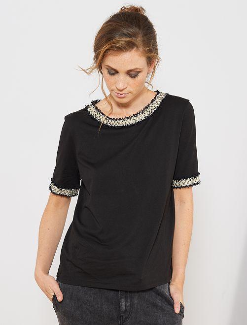 T-shirt avec détails en tweed                             noir
