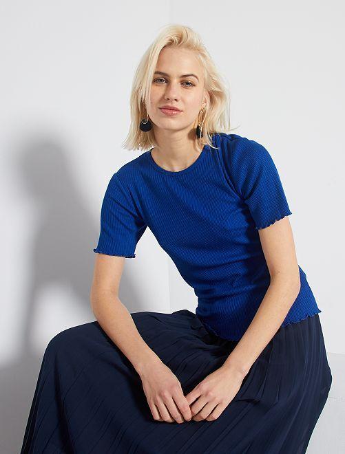 T-shirt avec fronces                     bleu