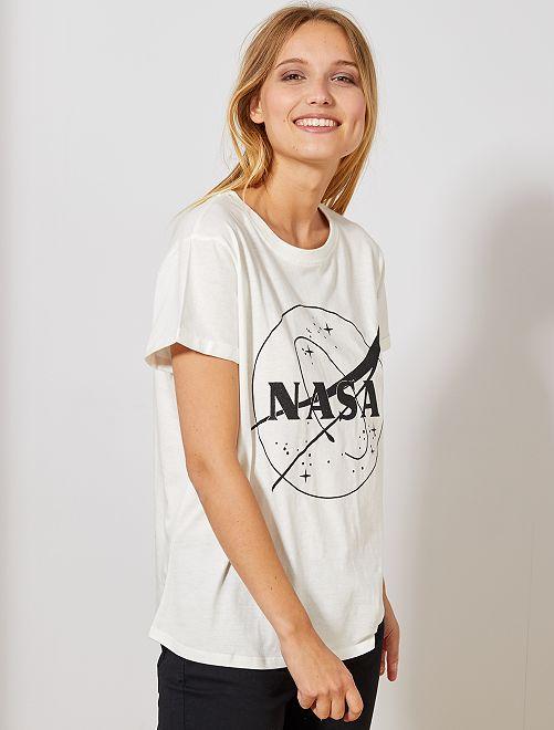 T-shirt avec glitter noir 'NASA'                             blanc Femme
