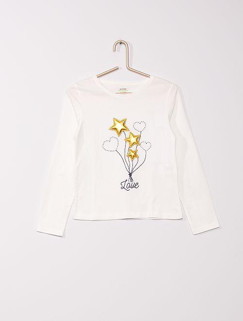 t-shirt avec impressions en relief                                                                                         blanc