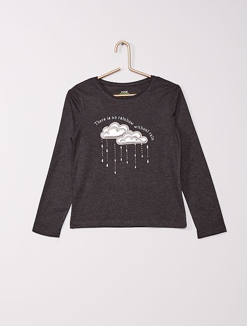 t-shirt avec impressions en relief                                                                                         gris