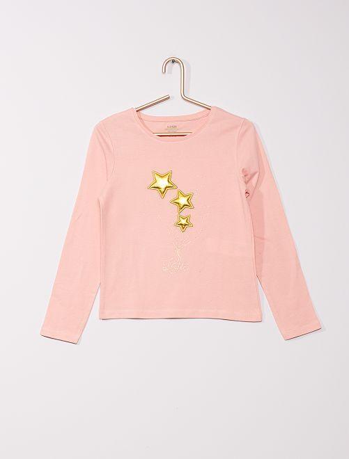 t-shirt avec impressions en relief                                                                                         rose