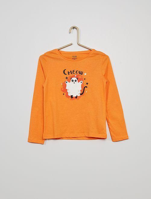 T-shirt avec imprimé 'chat fantôme'                                                                                                                                                                                                     orange