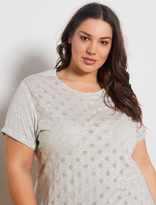 T-shirt avec imprimé en maille dévorée                                                     gris