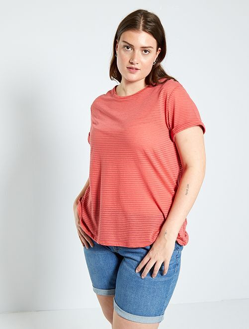 T-shirt avec imprimé en maille dévorée                                                     rose