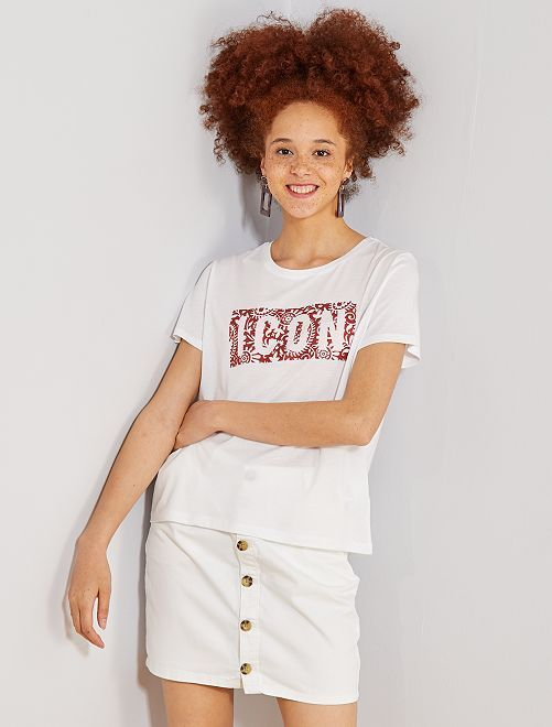 T-shirt avec imprimé gel                             blanc