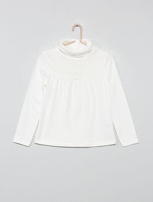 T-shirt avec macramé                                                                 blanc