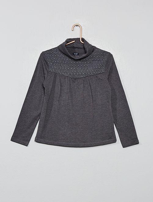 T-shirt avec macramé                                                                 gris
