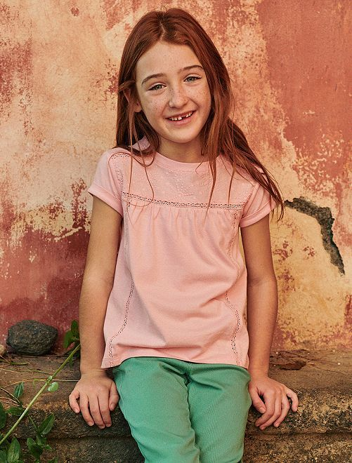 T-shirt avec macramé                                                                 rose clair Fille