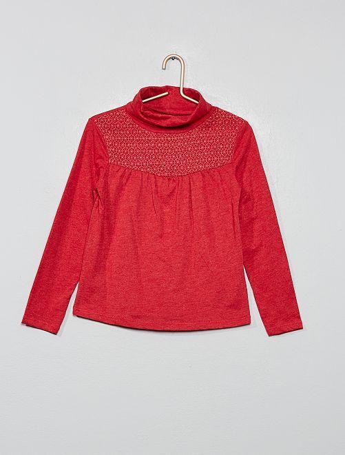 T-shirt avec macramé                                                                 rouge groseille