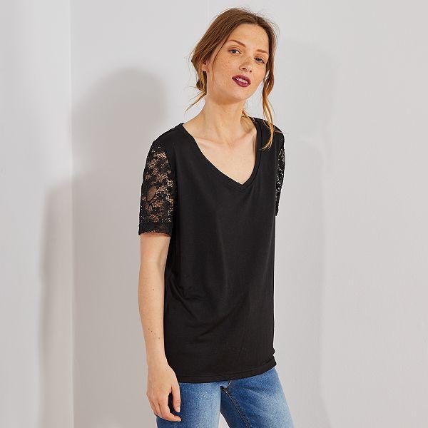 T-shirt avec manches dentelle Femme - noir