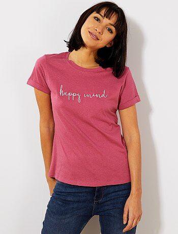 T shirt avec message brodé