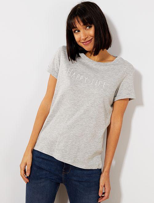 T-shirt avec message en coton bio                                         gris