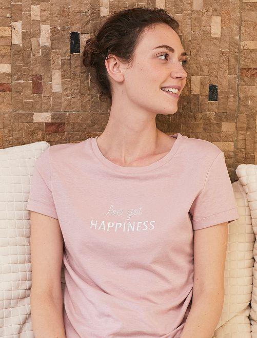 T-shirt avec message en coton bio                                                                 rose pâle Femme
