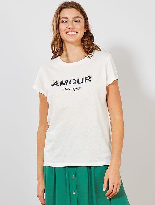 T-shirt avec message imprimé et fleurs                                         blanc Femme