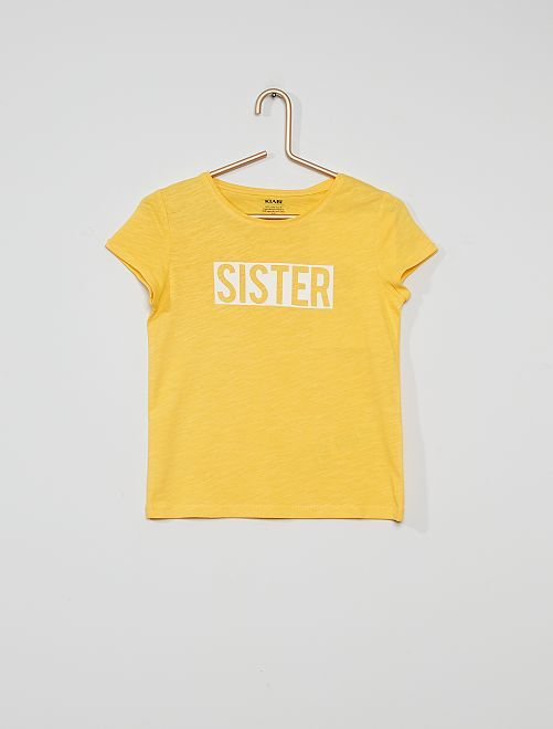 T-shirt avec message imprimé                                                                                                                 jaune