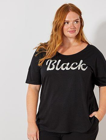 T-shirt avec message sequins et broderie