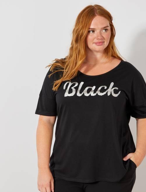 T-shirt avec message sequins et broderie                                         noir Grande taille femme