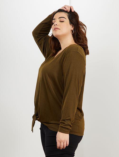 T-shirt avec nœud sous ventre                                                                 kaki