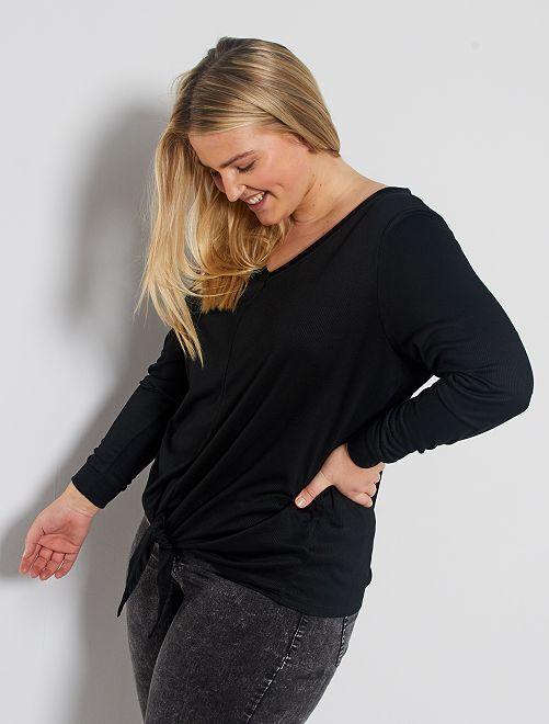 T-shirt avec nœud sous ventre                                                                 noir