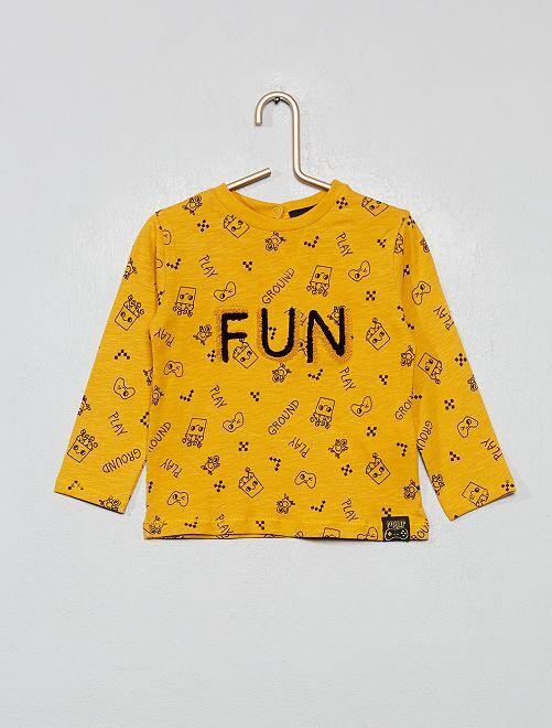 T-shirt avec patch bouclettes                             jaune