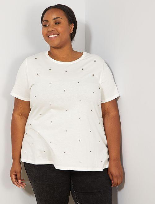 T-shirt avec perles                                                                 blanc Grande taille femme