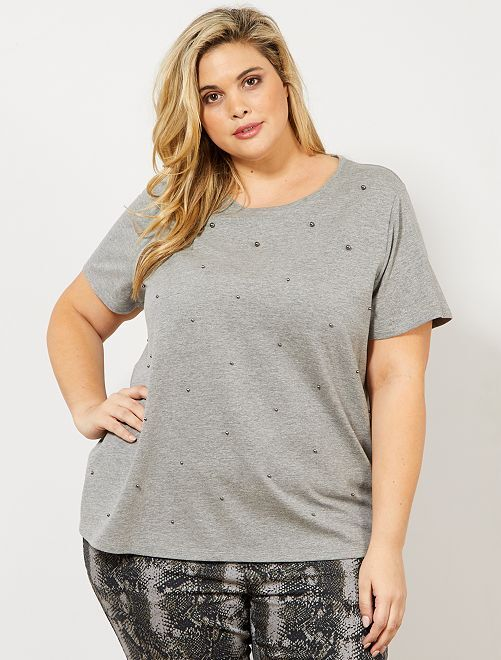 T-shirt avec perles                                 gris