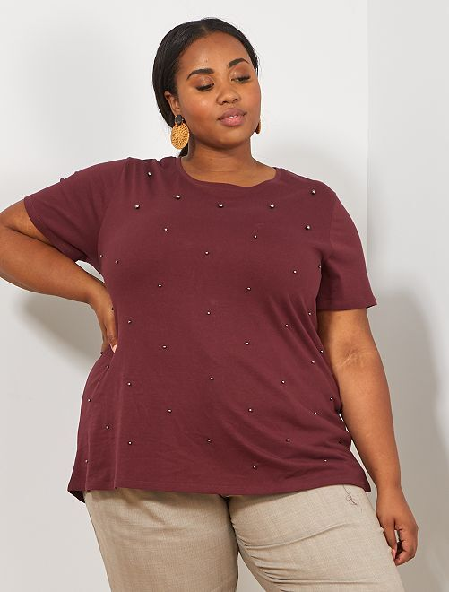 T-shirt avec perles                                                                 rouge bordeaux Grande taille femme