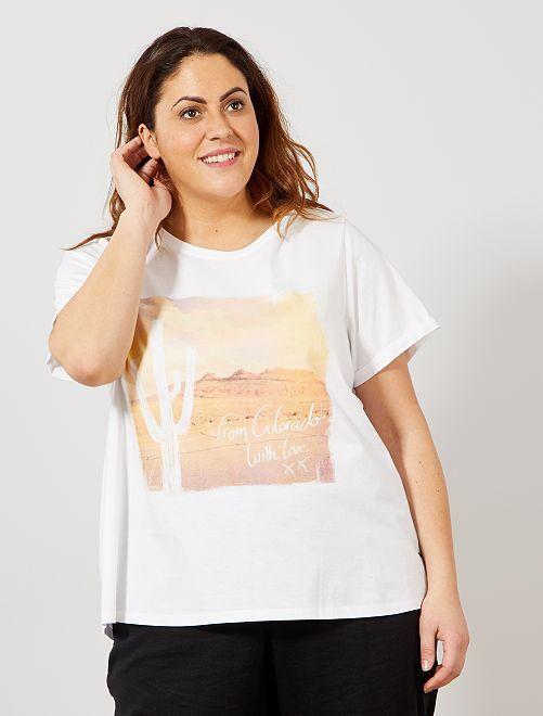 T-shirt avec photoprint                             blanc Grande taille femme