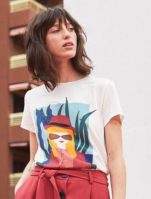 T-shirt avec photoprint                                         imprimé visage Femme